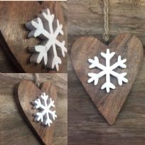 Snowflake Heart Wooden Hanging Decoration - Large